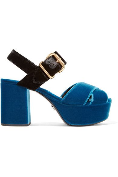 7c8562b31fc451 Heel measures approximately 85mm  3.5 inches with a 40mm  1.5 inches  platform Cobalt-blue and black velvet Buckle-fastening strap Made in Italy.  PRADA .