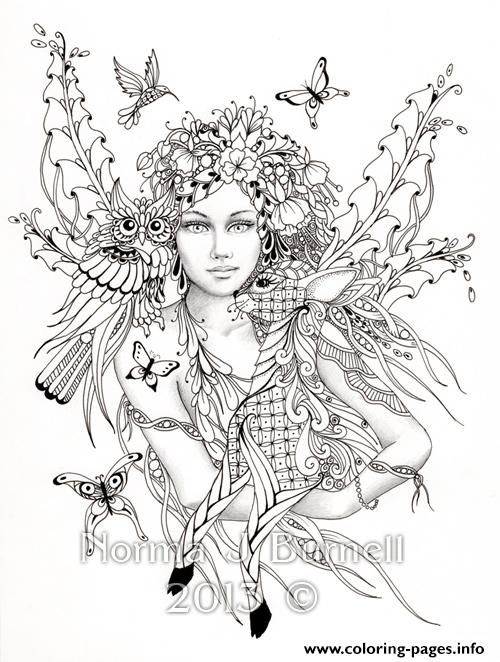Print difficult fairies with bird nature flowers coloring pages ...