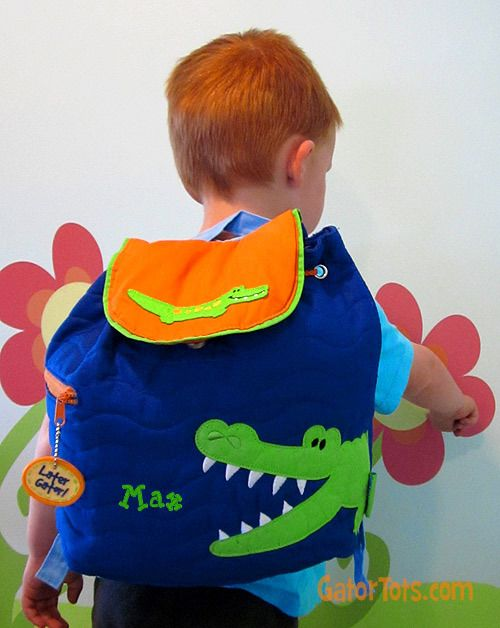 Gator Tots - Stephen Joseph Quilted Personalized Backpack Alligator bf49f8200121d
