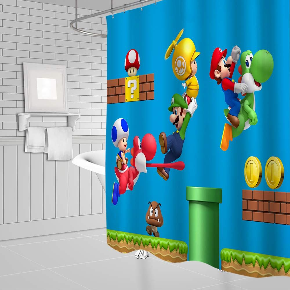 Cartoon Mario Shower Curtains Super Mary Game Colorful Children