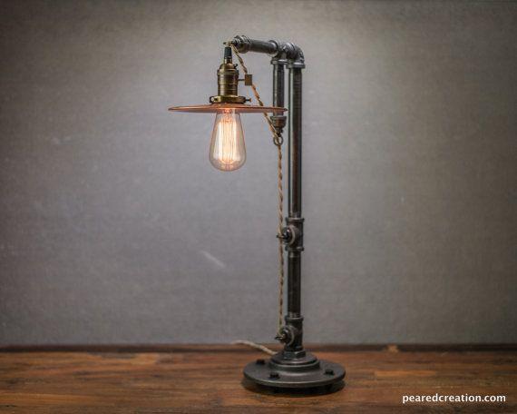 Table Lamp Industrial Edison Bulb Lamp Lamp Vintage Industrial Lighting Copper Shade Industrial Funiture Lamp Lampe En Tuyau Lampe De Table En Verre