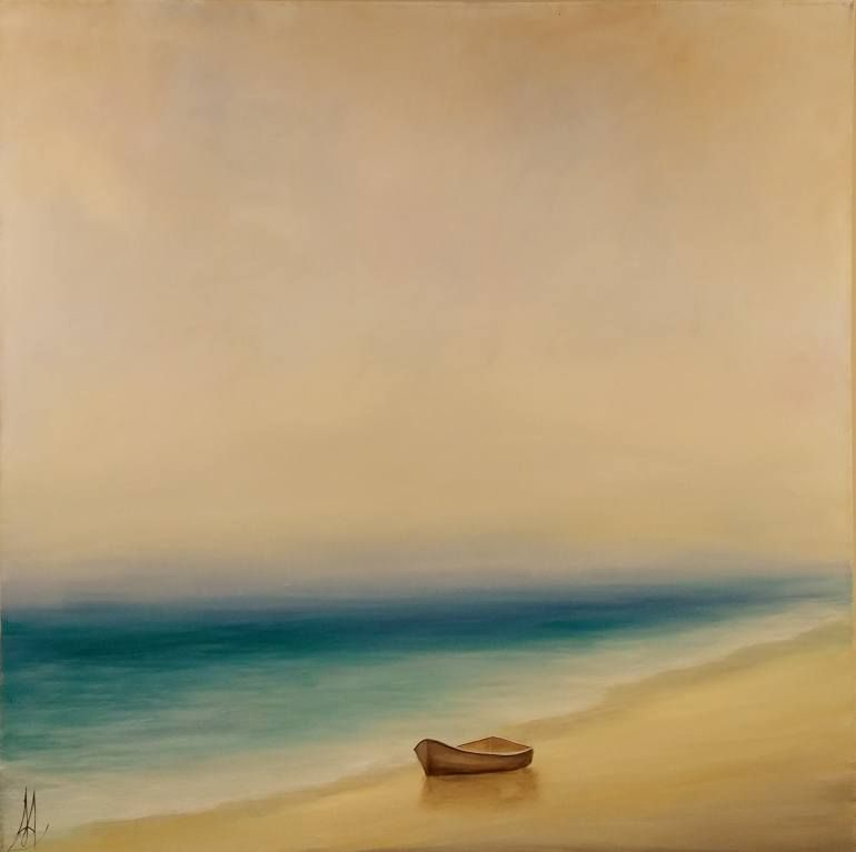 """Twice Beached,"" blue seascape by artist Jim Afroukhteh available at Saatchi Art 