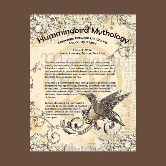HUMMINGBIRD MYTHOLOGY, Digital Download, Book Of Shadows