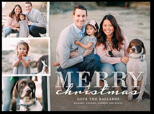 Overlaid Frames Christmas Card, Square Corners, White