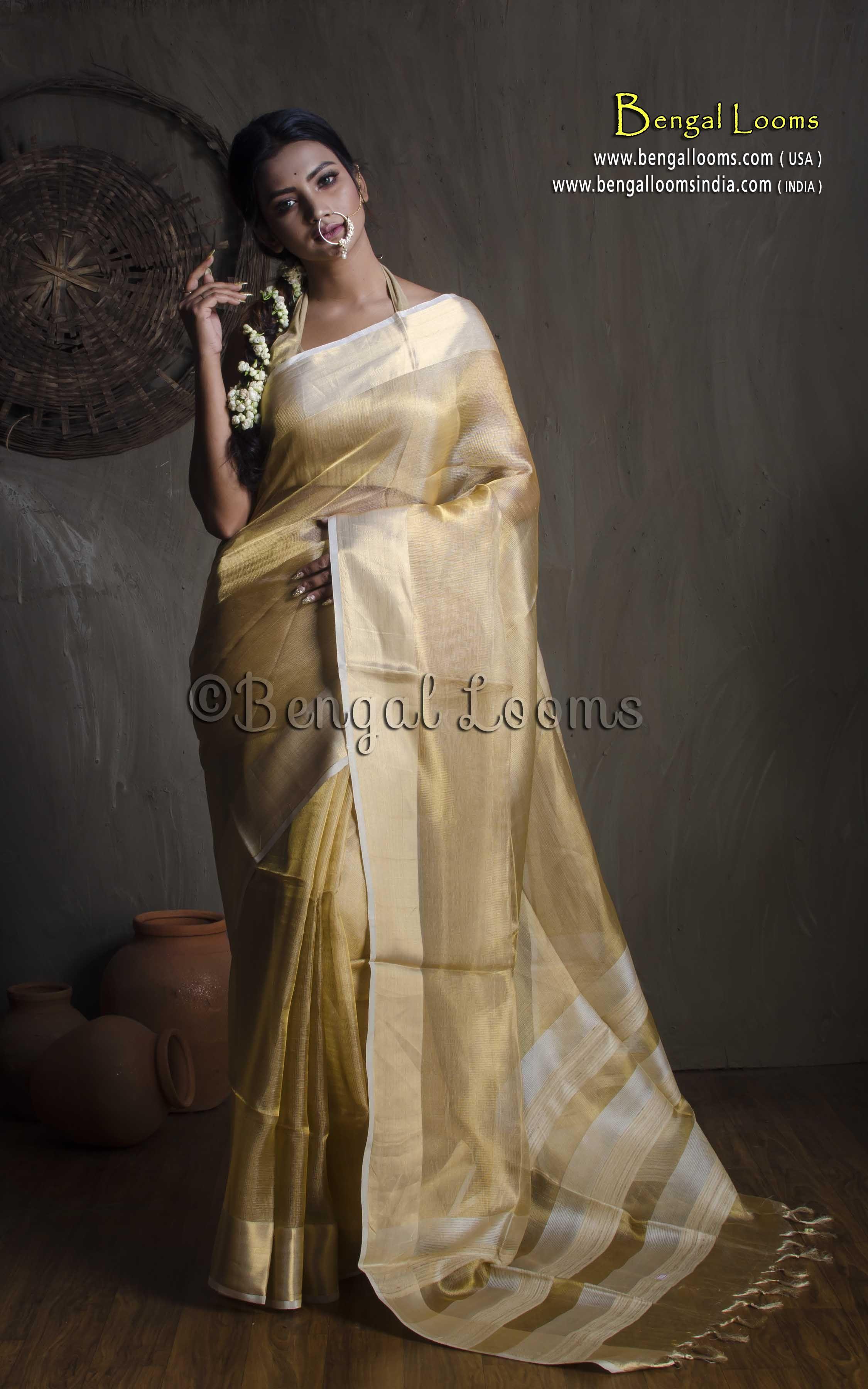 8769bed92d422f Pure Handloom Tissue Silk Contemporary Banarasi Saree in Gold ...