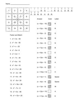 Factoring Quadratics pizzazz worksheet | A 10 AcAdEmiC MaTh | Pinterest