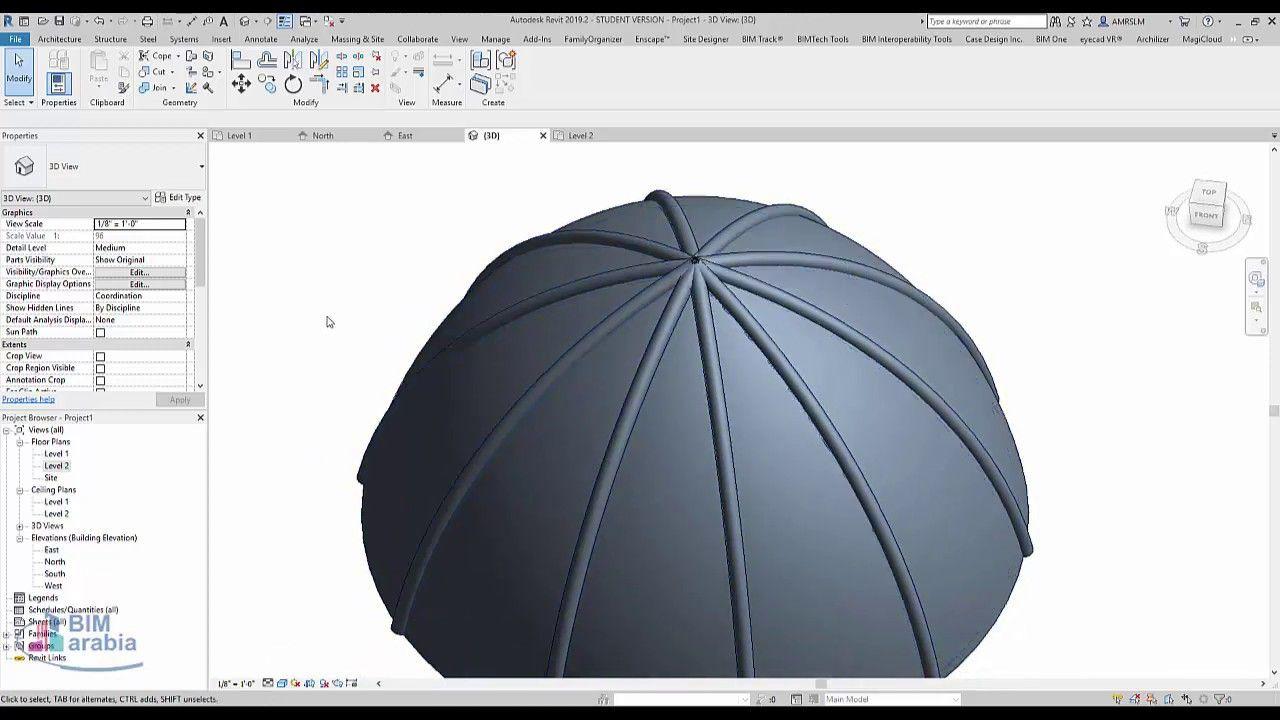 Model Domes In Revit عمل قبة Https Youtu Be Rqeb94lfoyg Model