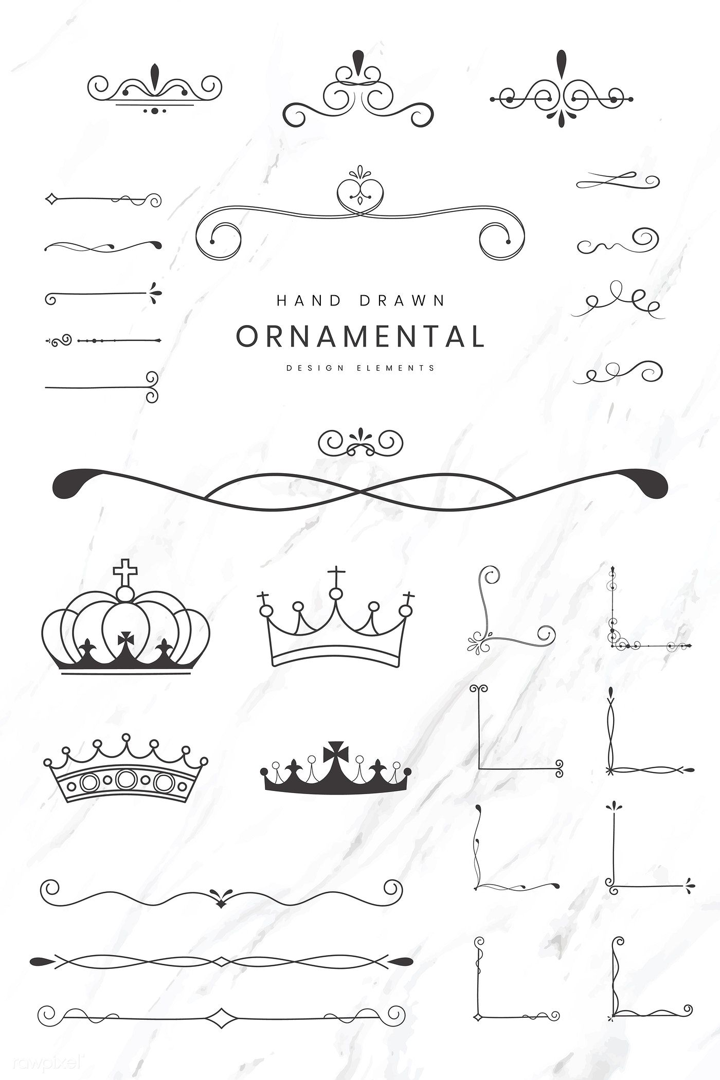 Download Premium Vector Of Hand Drawn Ornamental Design Elements Vector How To Draw Hands Design Elements Vector Free