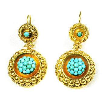 Fidra Jewellers Brighton Uk Rare Victorian 15ct Gold And Turquoise Earrings Circa 1870s