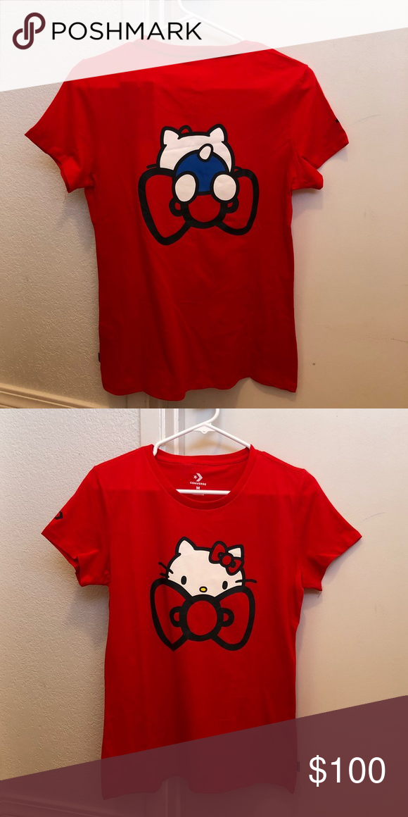 781cf4fcc Hello kitty red shirt by converse Adorable hello kitty red shirt - brand  new - size medium Fabric: 100% cotton Hello Kitty print Slim fit Ribbed crew  neck ...
