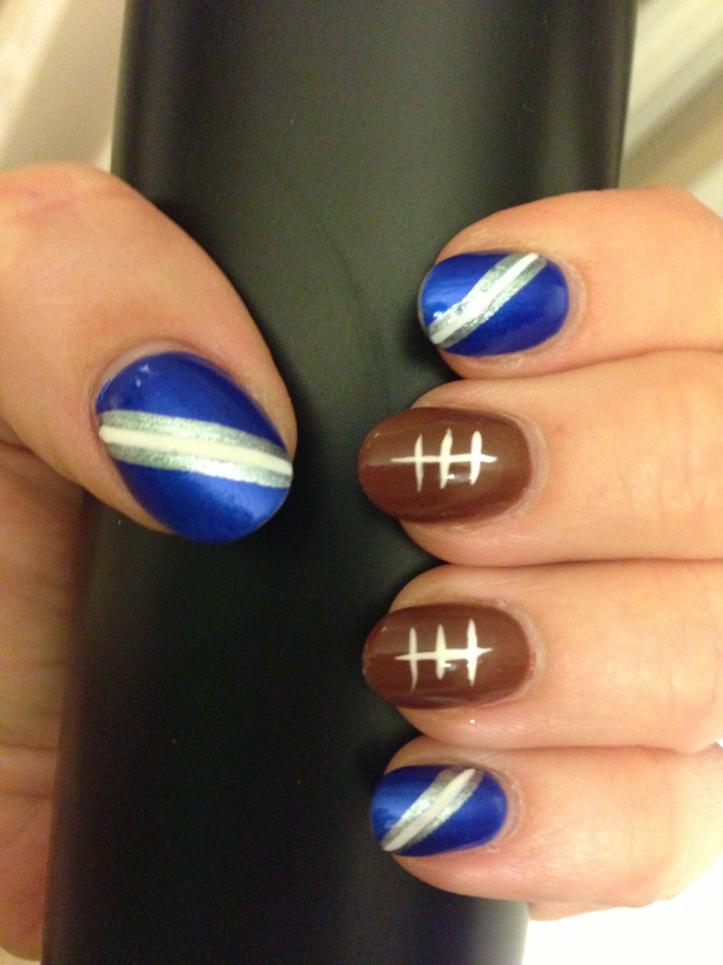 Nail Art - Dallas Cowboys nails Design (or any blue and white ...