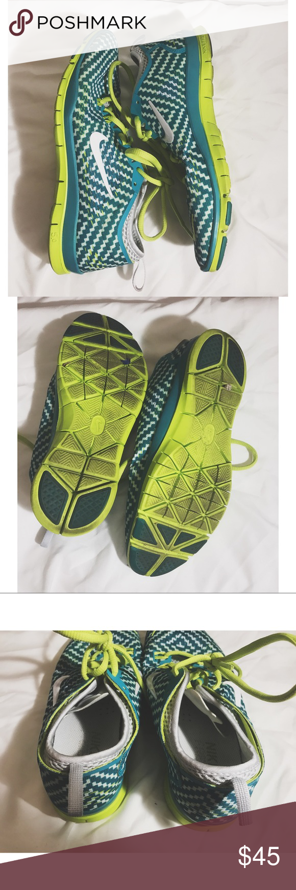Green and neon green trainer fit 4 Nike free trainer fit 4. They have been worn but still have a lot of life in them. Nike Shoes Athletic Shoes