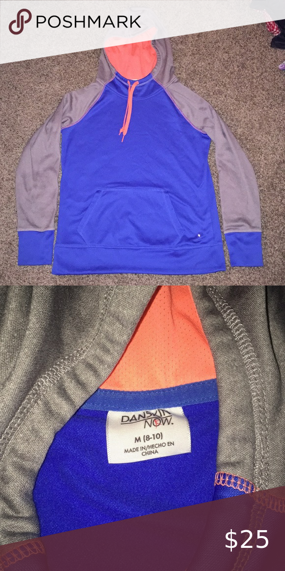 DanskinNow blue gray orange hoodie kangaroo pocket