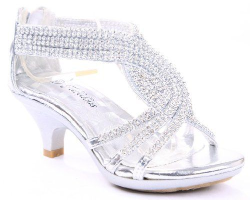 JJF Shoes Angel-37 Silver Woman Bling Rhinestone Platform Dress ...