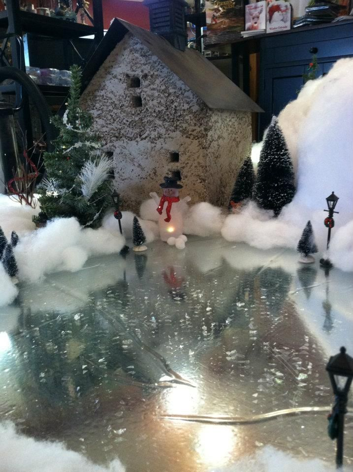 Mini Christmas Village Display.Silver Mylar To Create Frozen Pond For Christmas Village