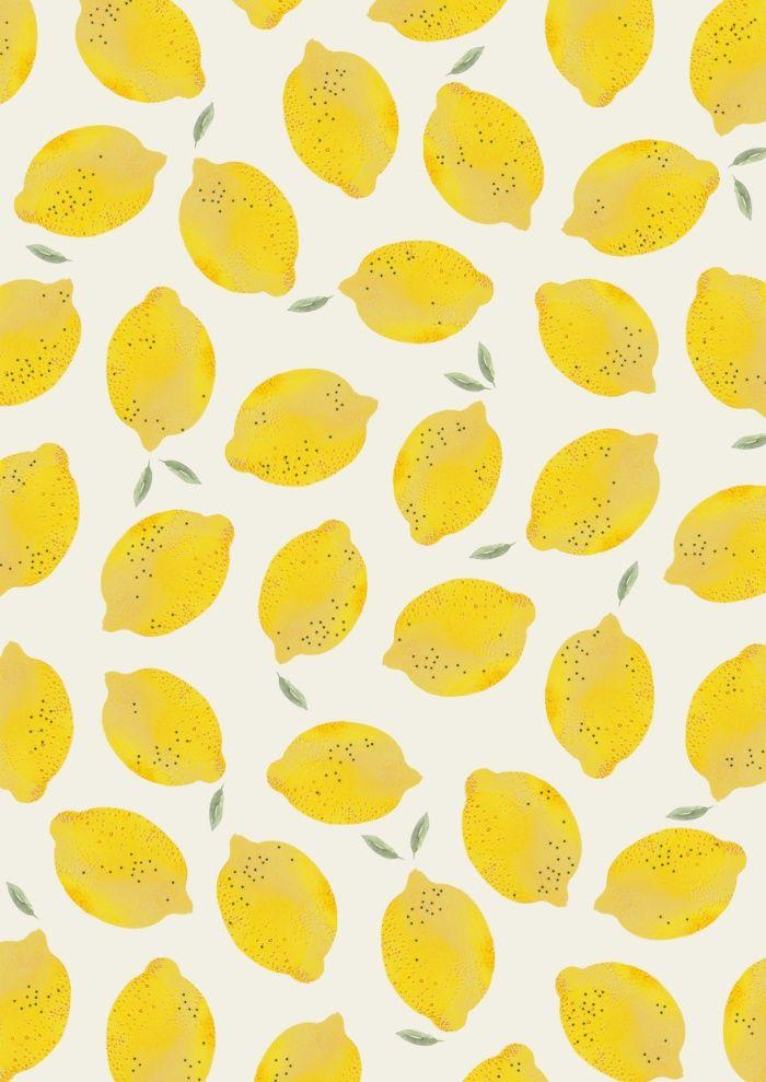 Lemon Print Ilustration Watercolor Background Pattern