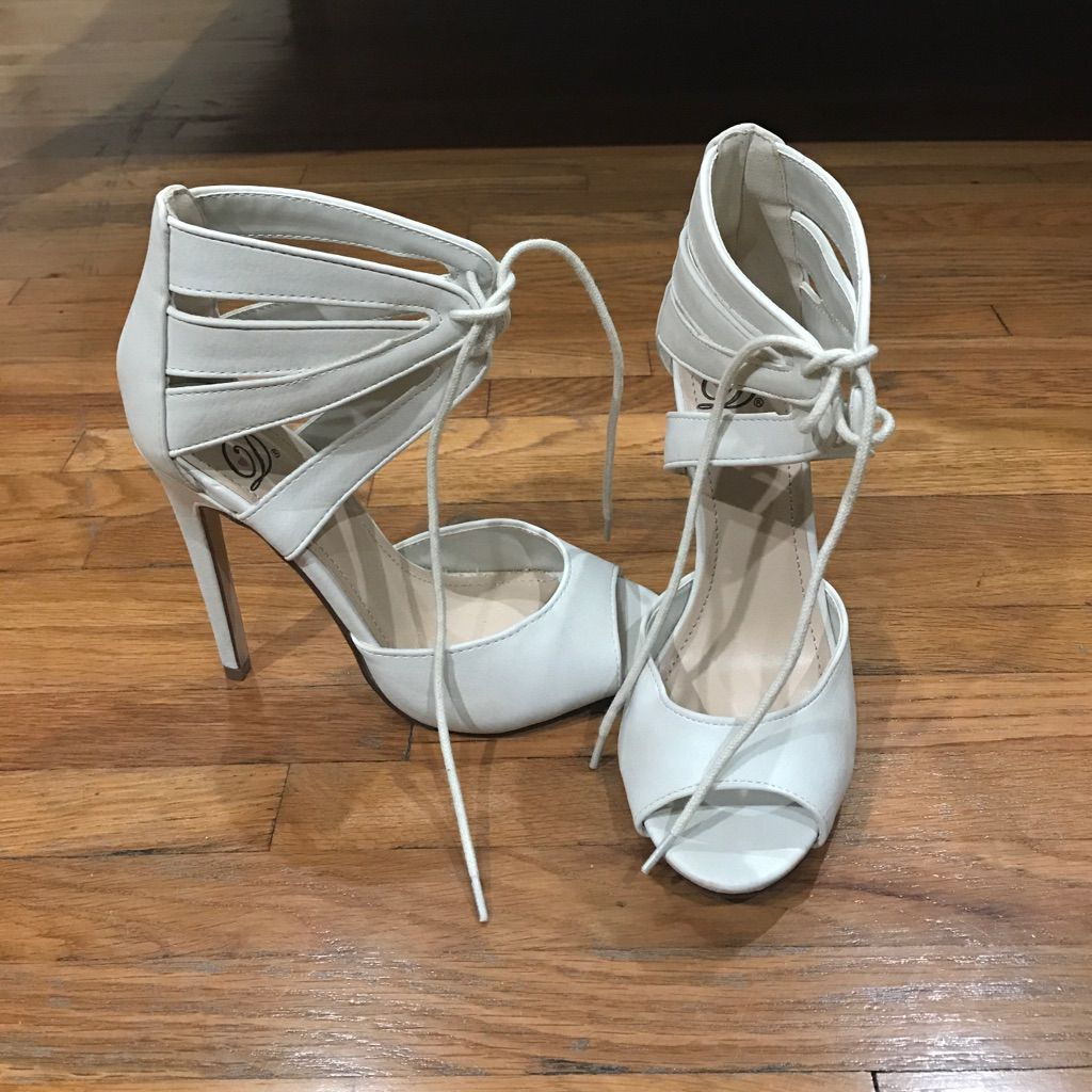 Brand New White Heels With Lace Tie.