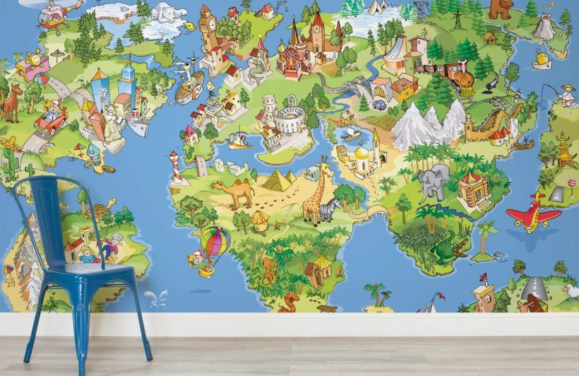 Animal map wallpaper mural shops wallpaper murals and wallpapers large mural picture more detailed picture about can be customized new art large murals wallpaper wall stickers children baby bedroom sitting cartoon world gumiabroncs Gallery