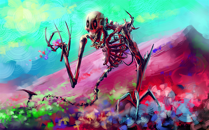 Download wallpapers skeleton, 4k, art, monster, creative