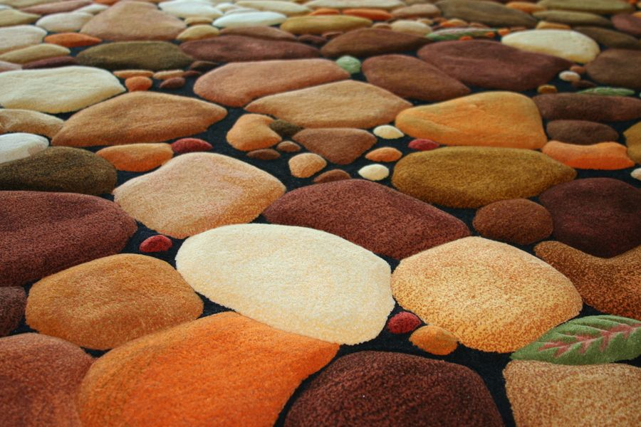 Cool Area Rug Hand Tufted New Zealand Wool Pebble Stone