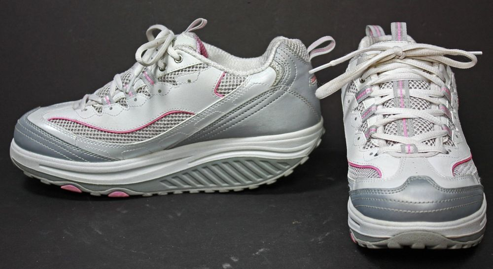0110d6317719 NWOB Skechers Shape-Ups Jump Start White Silver Pink walking shoes ...
