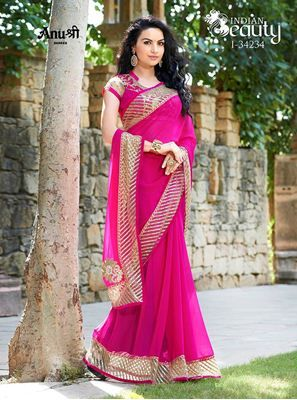 a45a03c8178468 ANUSHREE SAREES HEAVY PIPING GLITTER NET BORDER LACE WORK I-34234  EMBROIDERED HEAVY BUTTA STONE HANDWORK CHIFFON SAREE WITH BLOUSE PIECE