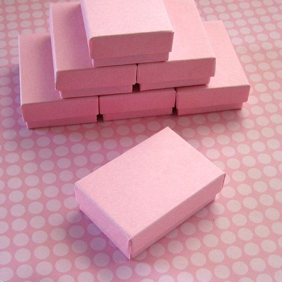 10 Cotton Filled Jewelry Boxes Light Pink 2 12 x 1 34 x 78 inches