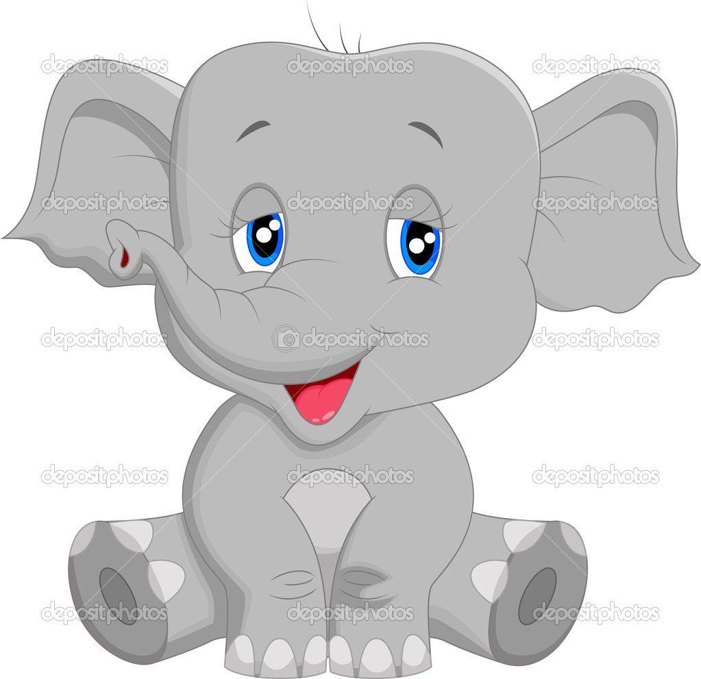 Caricatura lindo bebé elefante — Vector stock © tigatelu #49599129 ...