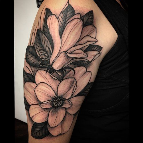 a4902253a Realistic Black and Grey Magnolia Floral Tattoo by David Mushaney Rebel  Muse Tattoo, Lion Tattoo