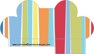 Azul e Listras Coloridas - Kit Completo com molduras para convites, rótulos para…