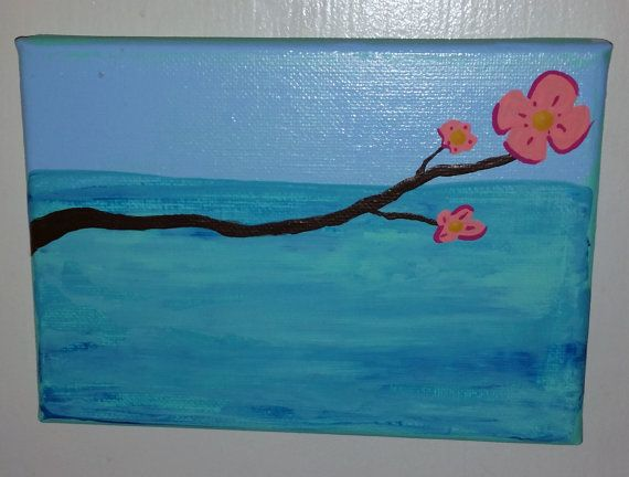 Tropical Blossom Itty Bitty Painting 7 x 5 by TheMessyMermaid, $15.00