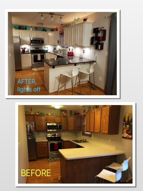 Before and after, white painted kitchen cabinets. http://www.houzz ...