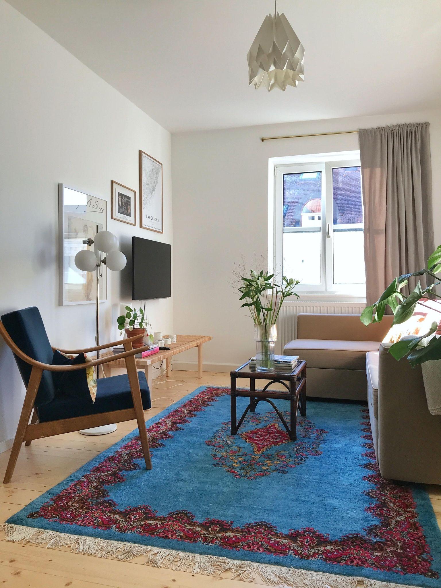 Wohnzimmer Stilmix Teppich Altundneu Blumen Teppich