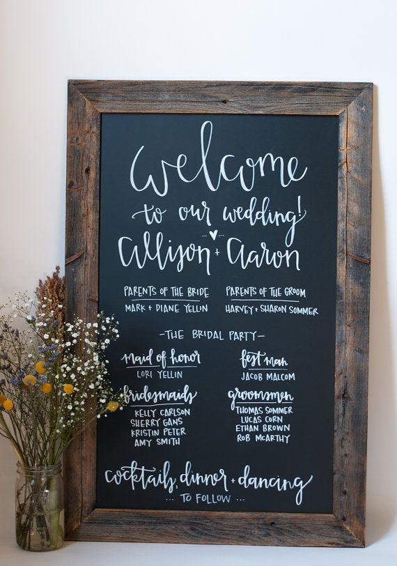Chalkboard Wedding Program 23x35 Rustic By Chalkfulloflove