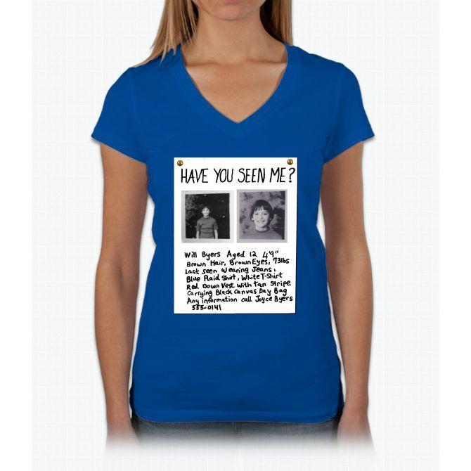Will Byers Missing Poster Stranger Things Womens V Neck T Shirt