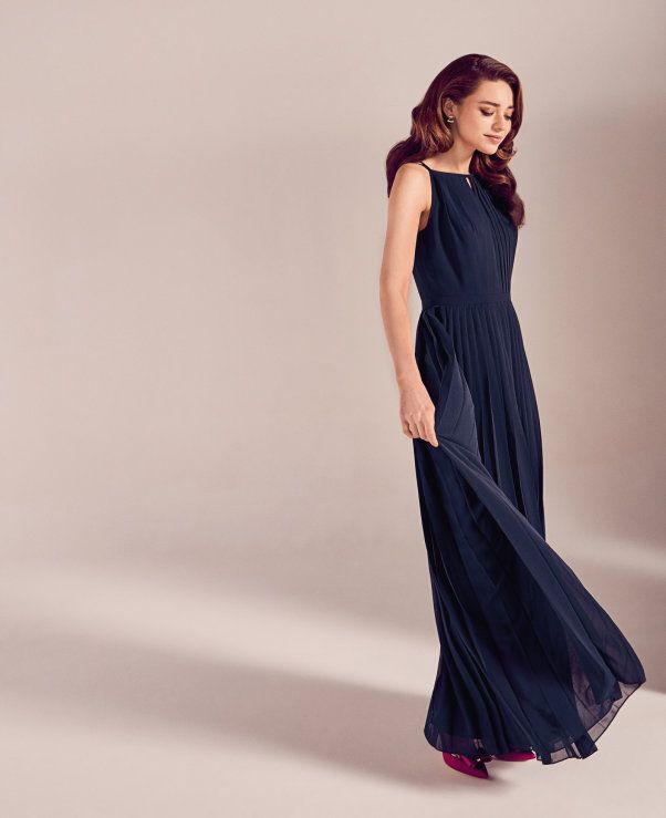 678f636ad6 Ted Baker Bridesmaid Navy Blue Ceryee Pleated maxi dress £249  wedwithted   Ted Baker