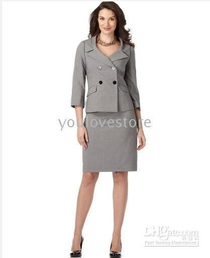 women's skirt suits | Suit-Women-s-Suits-Gray-Women-Skirt-Suit