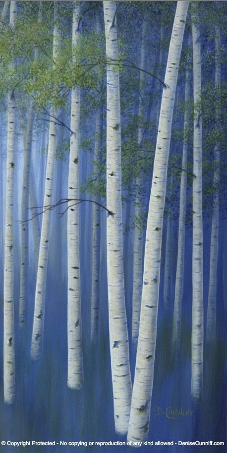 Narrow Wall Art Aspen Trees Painting Tall Vertical