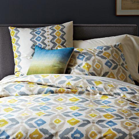 Bedding Organic Winter Ikat Duvet Cover West Elm Yellow Gray
