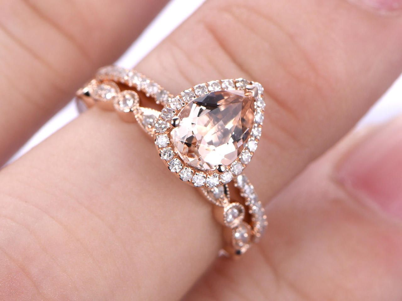 2pcs Wedding Ring Set,Morganite Engagement ring,6x8mm pear 14k Rose ...