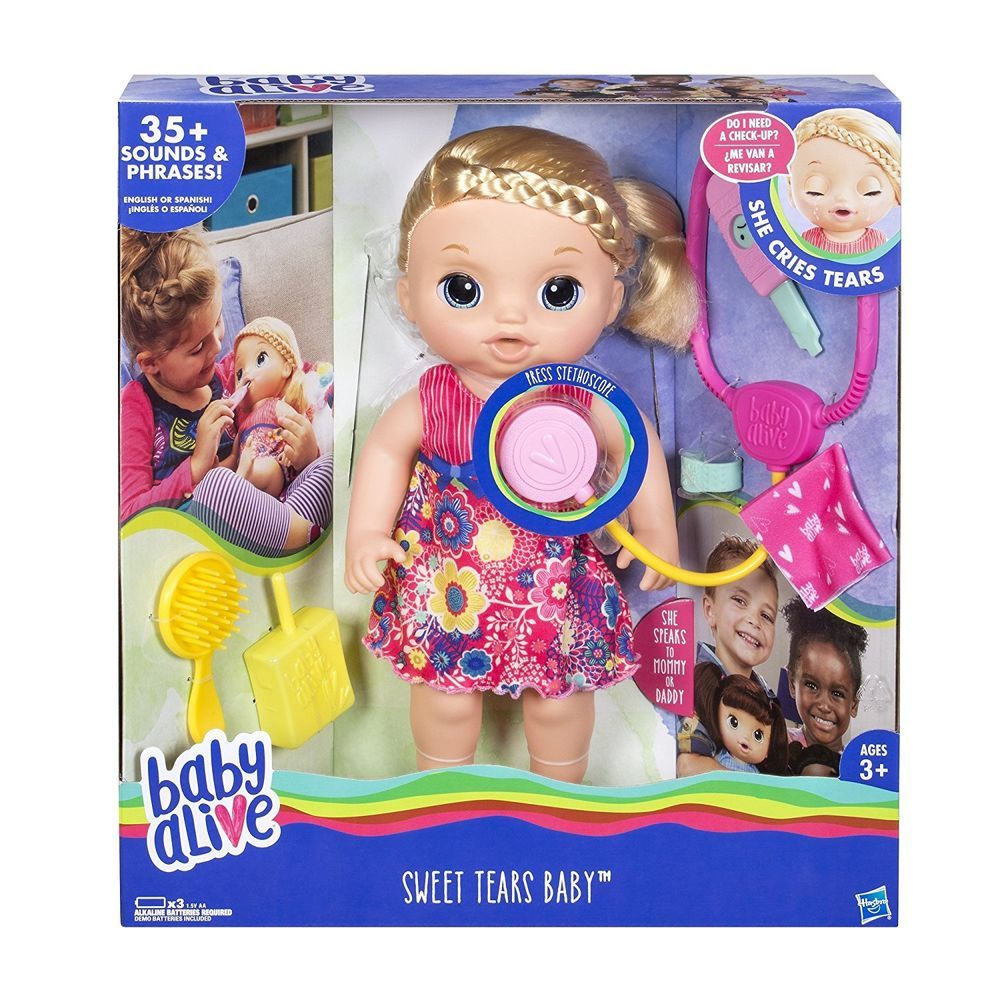 Baby Alive Sweet Tears Baby Blond Hair English Spanish 35 Sounds And Phrases Baby Alive Doll Clothes Baby Alive Dolls Baby Girl Dolls