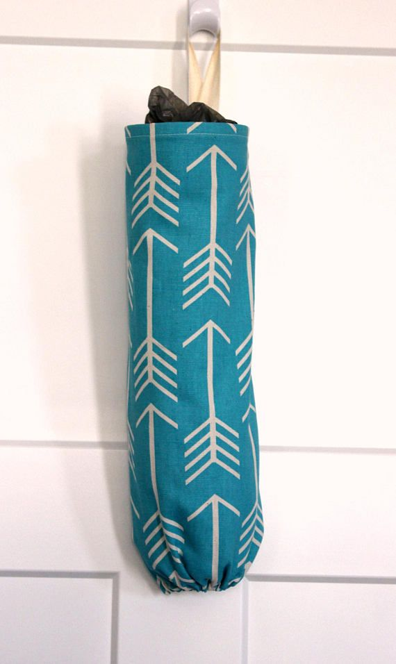 Grocery Bag Holder Made With Arrow Apache Blue Home Decor Fabric