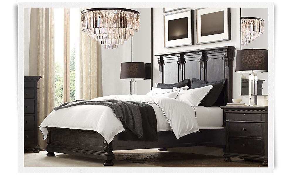 I swoon over this bedroom...that chandy is a stunner! | Design Loves ...