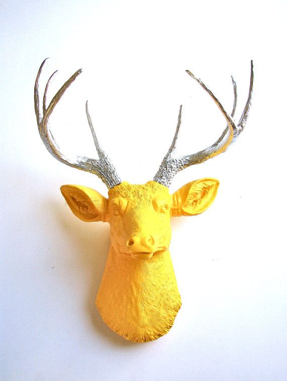 YELLOW with Silver Antlers Faux Taxidermy Deer Head wall mount Stag ...