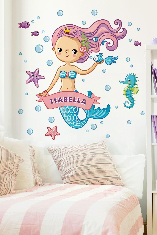 Kinderzimmer Wandtattoo Meerjungfrau Mit Wunschname Kinder Zimmer Wandsticker Kinderzimmer Kinderzimmer