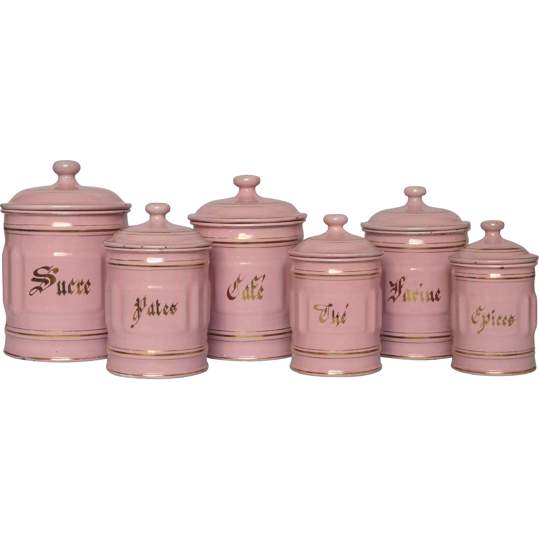 Complete Six Piece PINK Enamelware French Canister Set From  Yesterdaysfrance On Ruby Lane