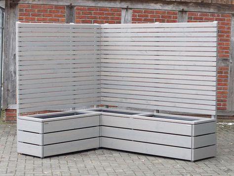 Pflanzkasten Holz Ecke mit Sichtschutz, Transparent Geölt Grau #dekoeingangsbereichaussen