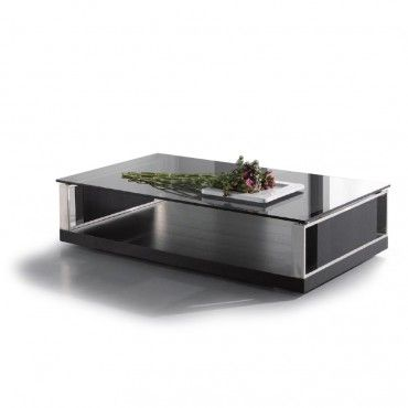 Modern Rectangular Black Glass Coffee Table Principle Black