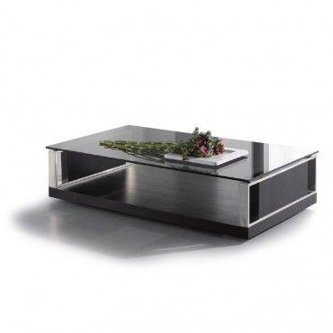 Modern Rectangular Black Glass Coffee Table Principle Black
