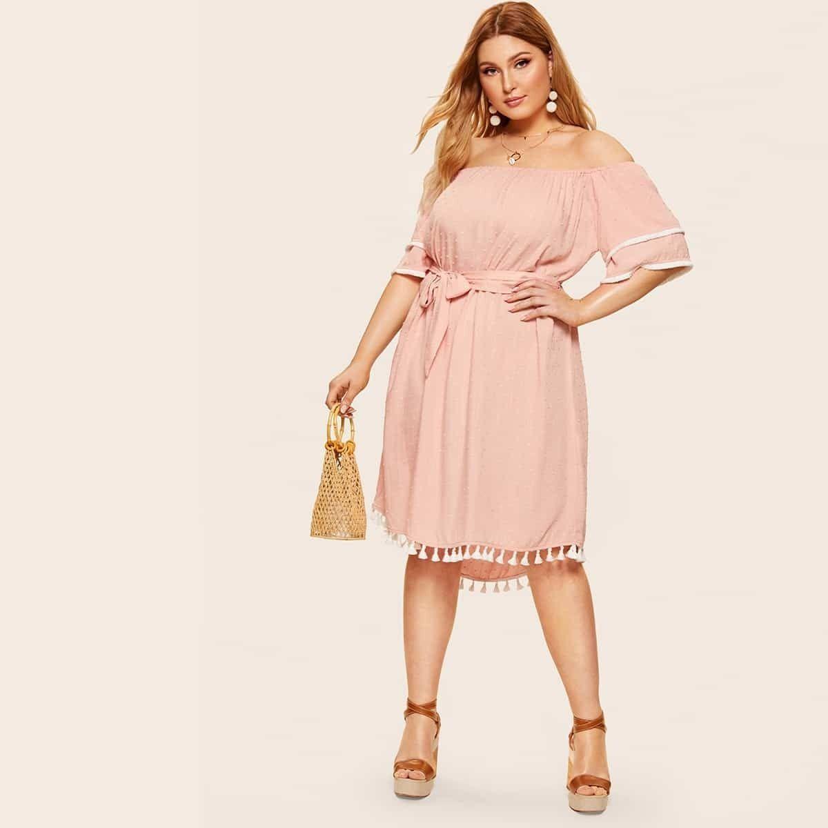 17 00 Vestido Con Cinturon Con Fleco De Hombros Descubiertos Grande Shein Tallas Grandes Shein Plus Size Dresses Belted Dress Half Sleeve Dresses